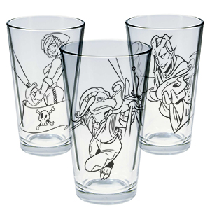 Dungeons and Doritos love triangle pint set