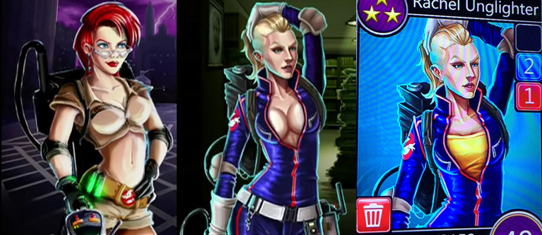 ghostbusters puzzle fighter sexualized