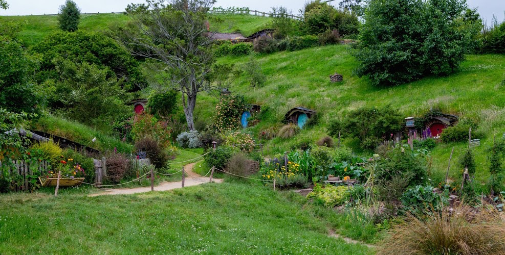 A view of hobbit holes near the gardens.